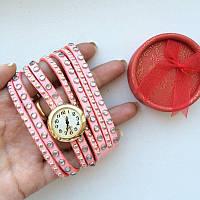 Часы Велюр розовые