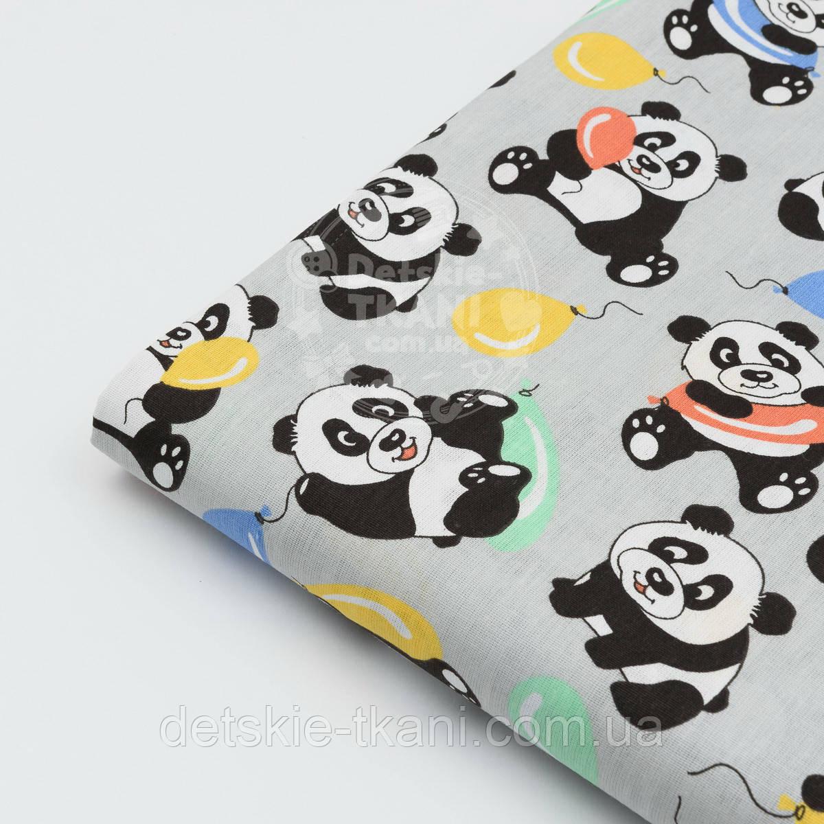"""Отрез ткани №820  """"Панды с шариками"""" на сером фоне, размер 54*160"""
