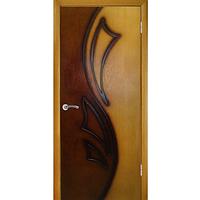 Дверное полотно Лилия 2 глухое ПГ Дуб натуральный тон-орех(двухцветный)