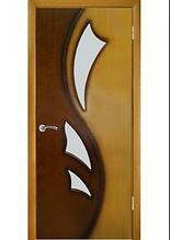 Дверне полотно Лілія 2 зі склом Дуб натуральний тон-горіх( двоколірний)