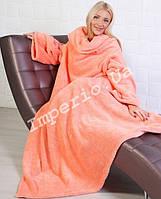 Плед с рукавами из микрофибры персикового цвета, фото 1