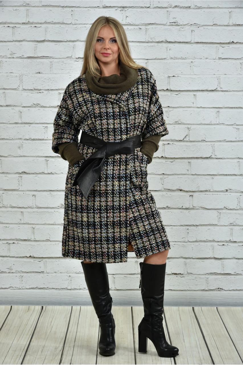 Хит сезона! женское пальто на подкладке с поясом батал размеры: 42-74