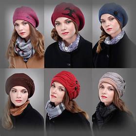 Женские трикотажные шапки, береты, кепки.