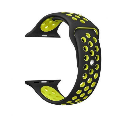 Ремешок для  Apple Watch Nike Sport Band  38/42mm Black Yellow(реплика)