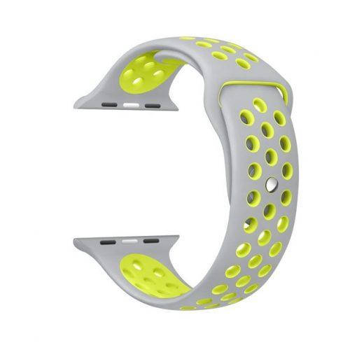 Ремешок для  Apple Watch Nike Sport Band  38/42mm Silver Yellow(реплика)