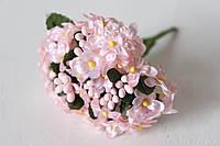 Веточки незабудки 6 шт/уп. нежно-розового цвета с листиком и тычинками, фото 1