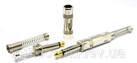 01-01-026. Штекер 6,3 моно, корпус металл, с пружиной, SoundProf Line, серебристый