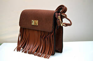 Женская модная стильная сумка коричневая бахрома, фото 2