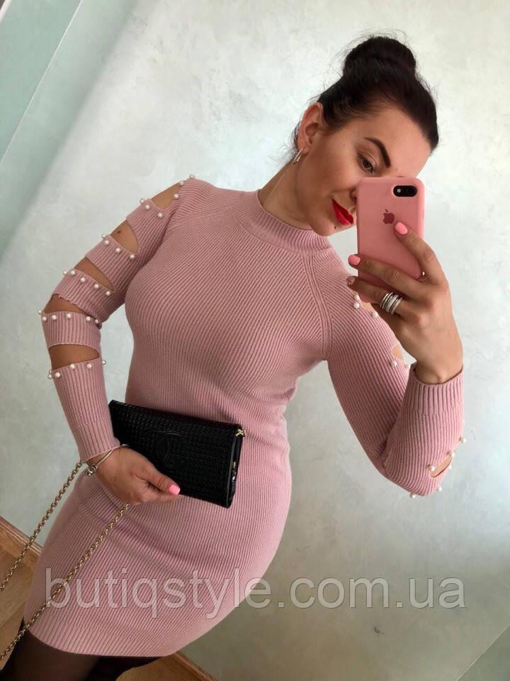 Стильное короткое платье с красивыми рукавами россыпь жемчуга серое, розовое, бордо, бирюза