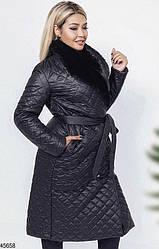 Женское стеганое демисезонное пальто с мехом размеры: 48,50,52,54