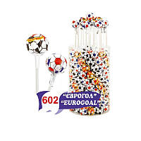 """""""Єврогол"""" кулька на паличці 24г, смаки: апельсин, лимон,полуниця, вишня, яблуко, малина, ваніль циліндр 205мм"""