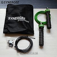Cкакалка скоростная SYNERGEE Electric Green (запасной кабель, прорезиненные ручки)