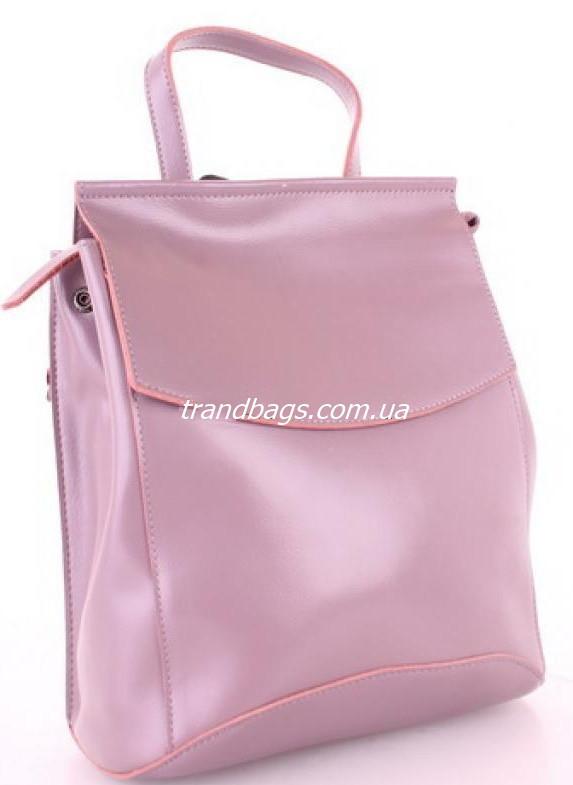 Женский кожаный рюкзак 10136 Pink кожаные женские рюкзаки недорого купить -