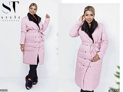 Женское стеганое демисезонное пальто с мехом размеры: 48,50,52, фото 2