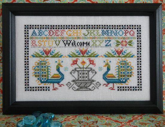Схема для вышивки крестиком Rosewood Manor Peacock Welcome Sampler
