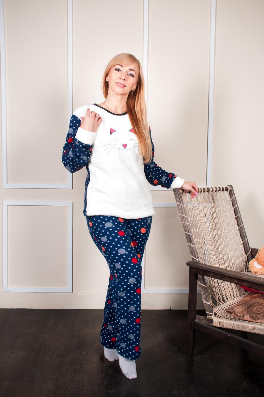 Женская махровая пижама с длинным рукавом
