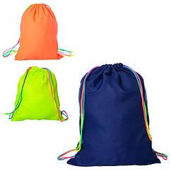 Сумка MK 1967 (100шт) рюкзак для обуви, 1отд.на затяжке, 3 цвета, 37-48см, в кульке, 37-24-1см