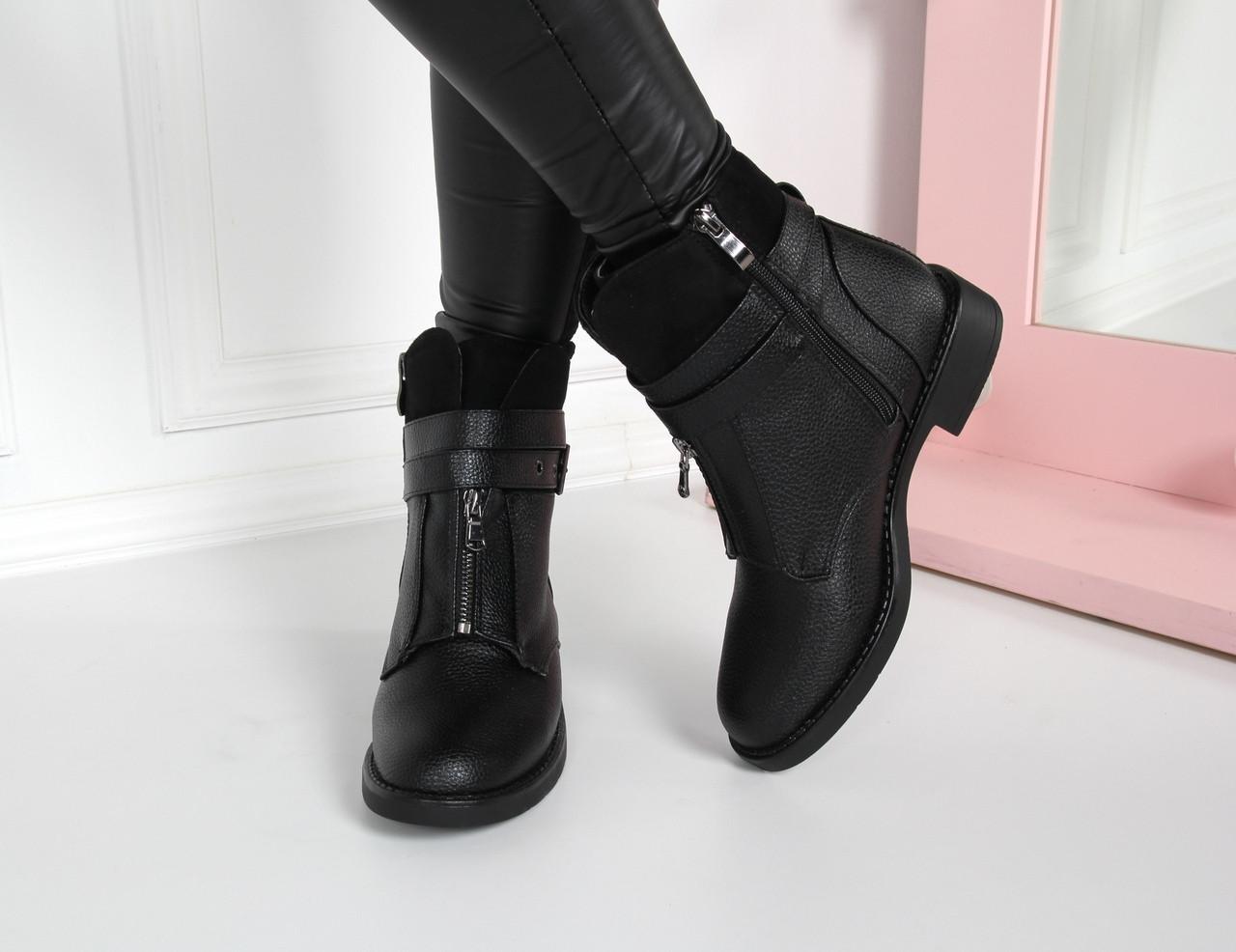 Ботинки на низком ходу с ремешком черные