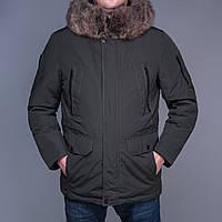 Мужская зимняя куртка с мехом.  Цвет - Хаки
