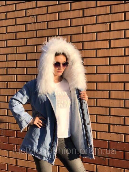 5966cc21 Теплая джинсовая куртка парка с белым мехом производство Китай цвет голубой  джинс, фото 2