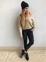 "Вязаный женский свитер ""Мыс"", беж, фото 1"