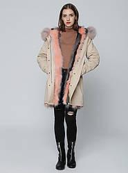 Парка бежевая с пудровым мехом Mr&Mrs Furs