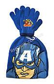 Комплект шапка с перчатками Капитан Америка от Marvel, отличное качество, на возраст 3-6 лет