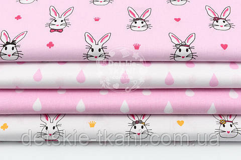 """Набор тканей 50*50 см из 4-х шт """"Кролики в цилиндрах и капельки"""", цвет розовый №104"""