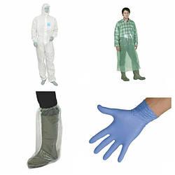 Защитная одноразовая одежда и перчатки
