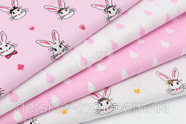 набор хлопоковой ткани с розовыми кроликами