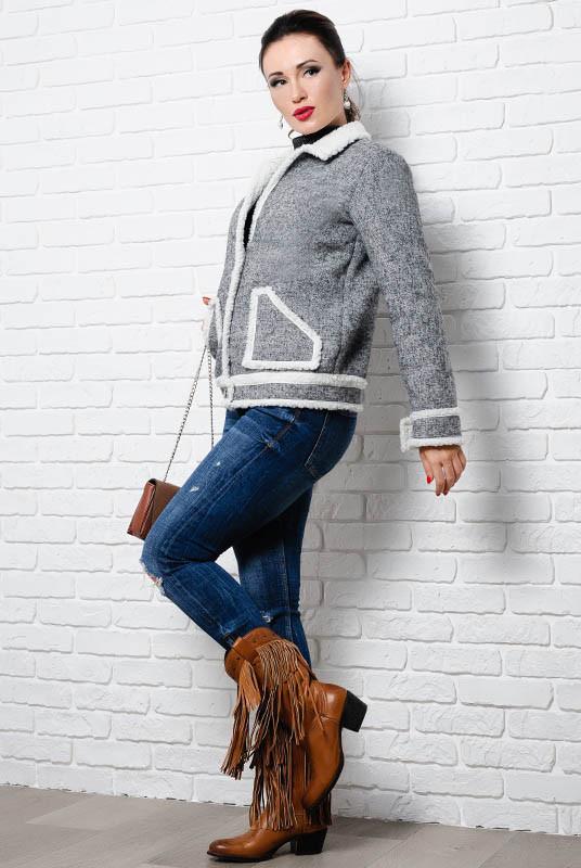 Стильная куртка на овчине  - Стрит - серый