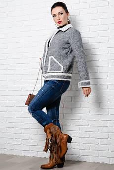 Стильна куртка на овчині - Стріт - сірий