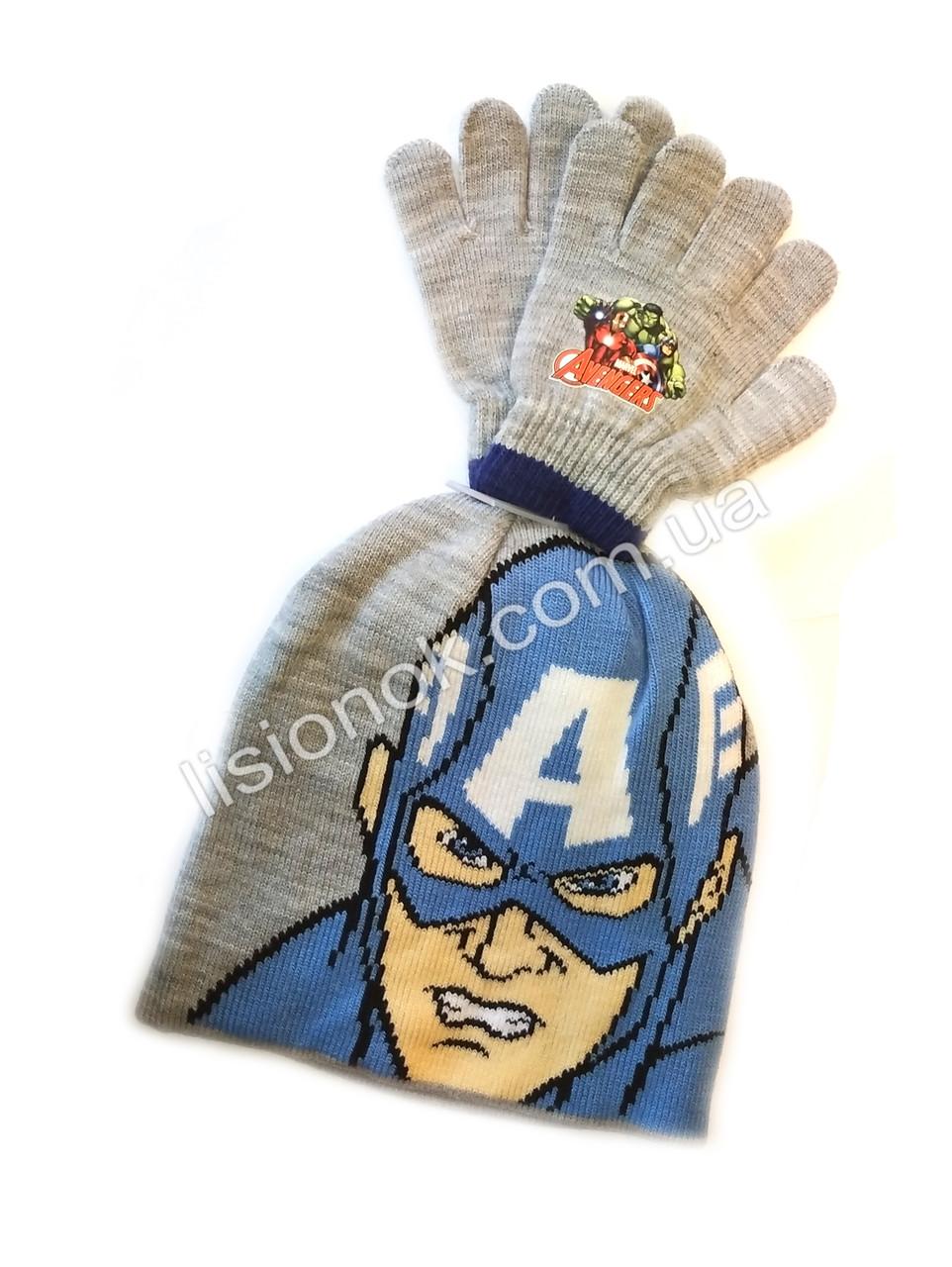 Купить Комплект шапка с перчатками Капитан Америка от ...