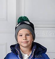 Стильная Демисезонная Шапка Для Мальчиков Темно-Синего Цвета С Веселыми Глазами И  Бубоном Brums Италия