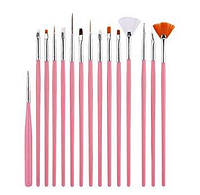 Набор из 15 кистей для ногтей Beauties Factory All Rounded Fine Nail Art Drawing & Painting Brush Set, фото 1