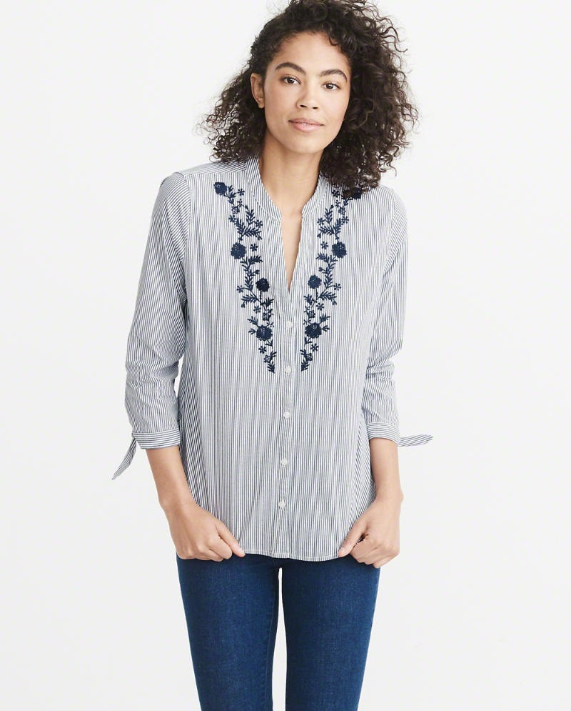 Блузка Abercrombie & Fitch EMBROIDERED TIE SLEEVE SHIRT XS