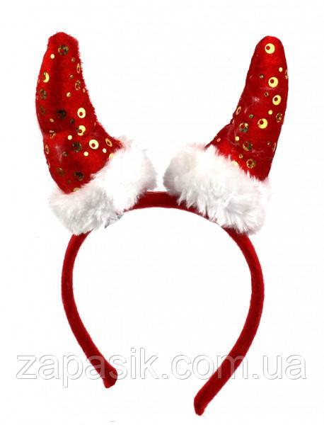 Новогодний Ободок Рога Деда Мороза Новогодние Рога Санта Клауса Обруч