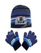 Комплект шапка с перчатками Star Wars от Disney, отличное качество, на возраст 2-4 года Синий-голубая полоска