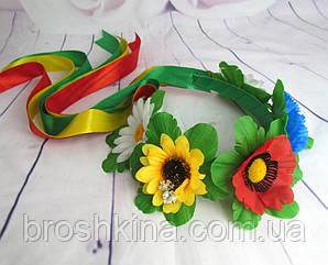 Венок украинский 5 цветочков с лентами