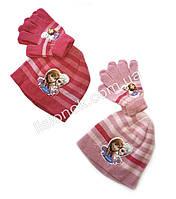 Комплект шапка с перчатками Холодное Сердце (Frozen) от Disney, отличное качество, на возраст 4-8 лет, фото 1