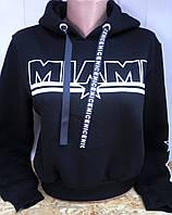 Батник на флисе с надписью коттоновый женский MIAMI      , фото 1