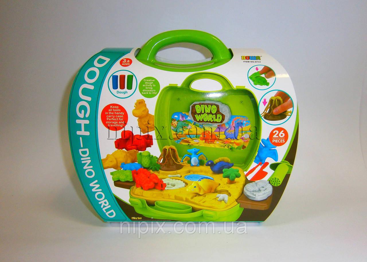 """Набор для творчества - тесто для лепки """"Динозаврики"""" в чемоданчике"""
