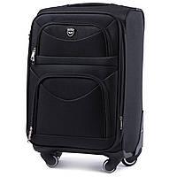 Большой тканевый чемодан Wings 6802 на 4 колесах черный