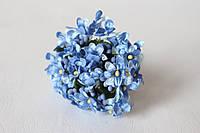 Веточки незабудки 6 шт/уп. синего цвета с листиком и тычинками, фото 1