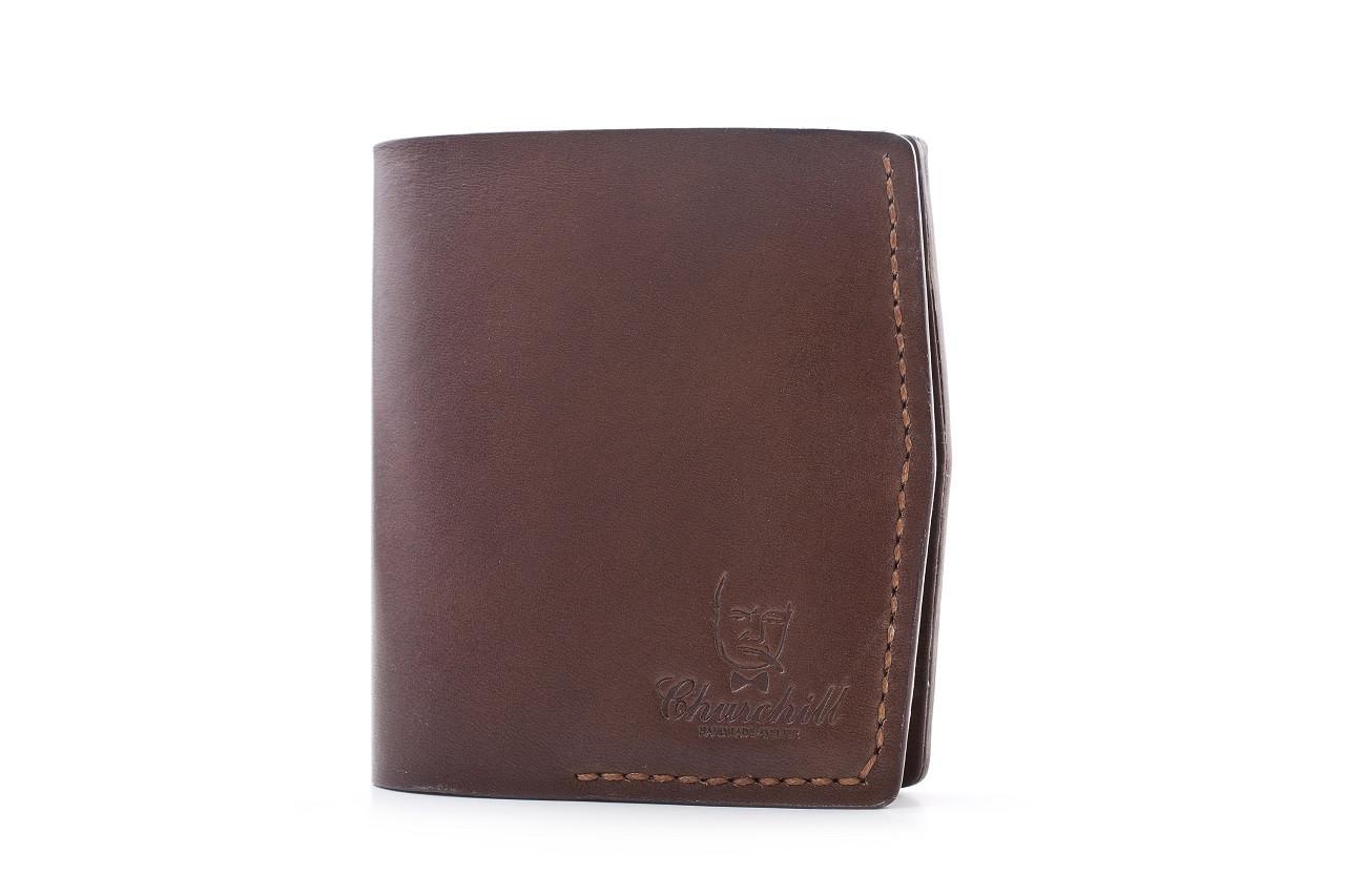 """Портмоне мужское компактное кожаное с карманом для монет """"Essential ducat"""" Цвет коричневый"""