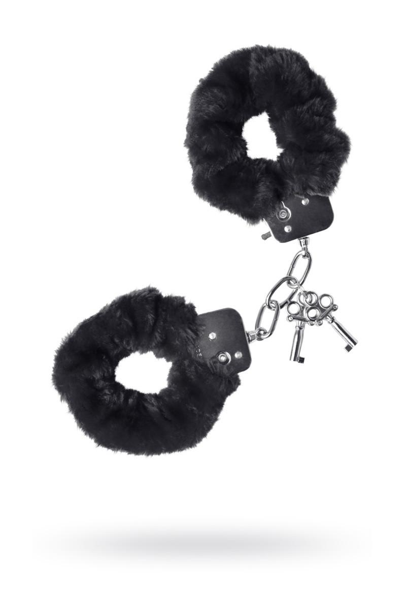 Наручники TOYFA Theatre,меховые черные, фото 1