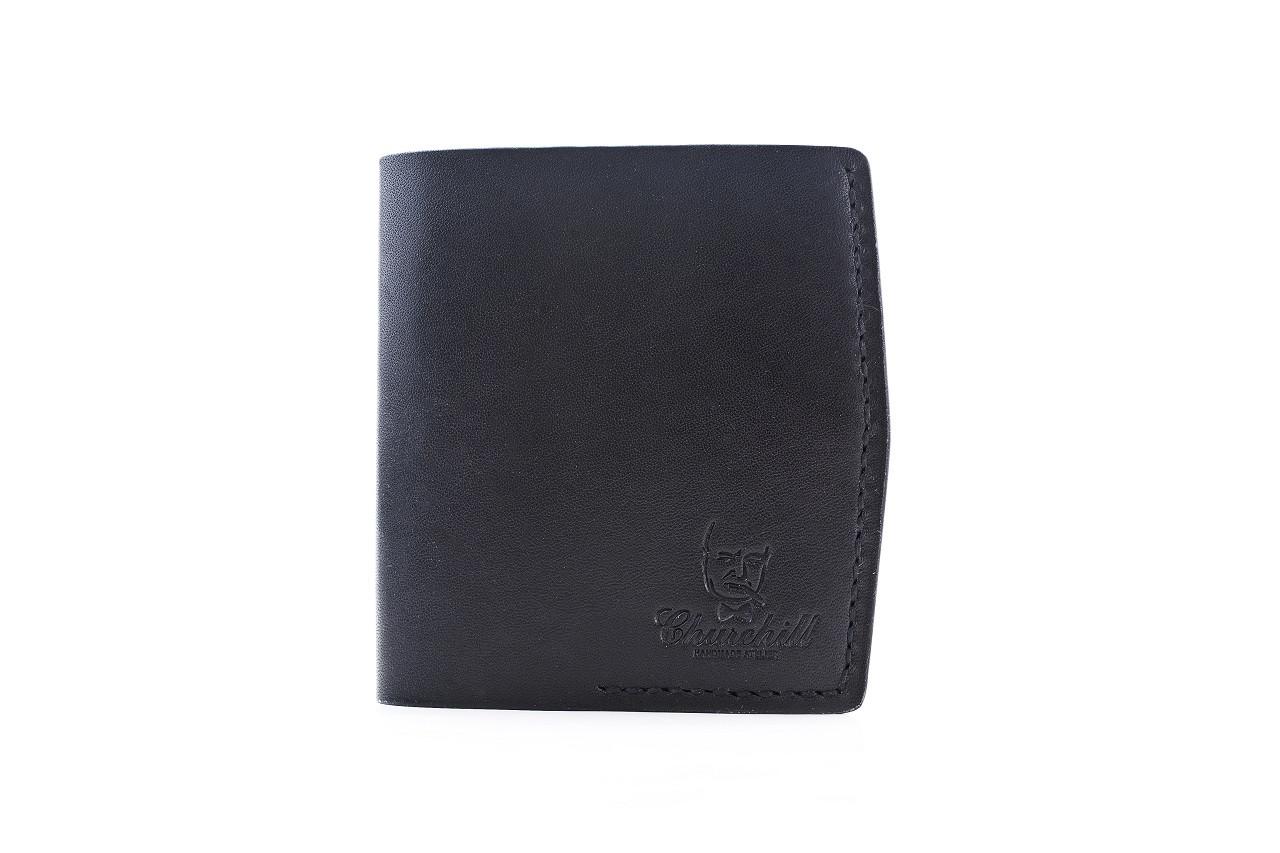 """Портмоне компактное мужское кожаное с карманом для монет """"Essential ducat"""". Цвет черный"""