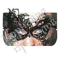Кружевная маска Секрет Павлина (черная)