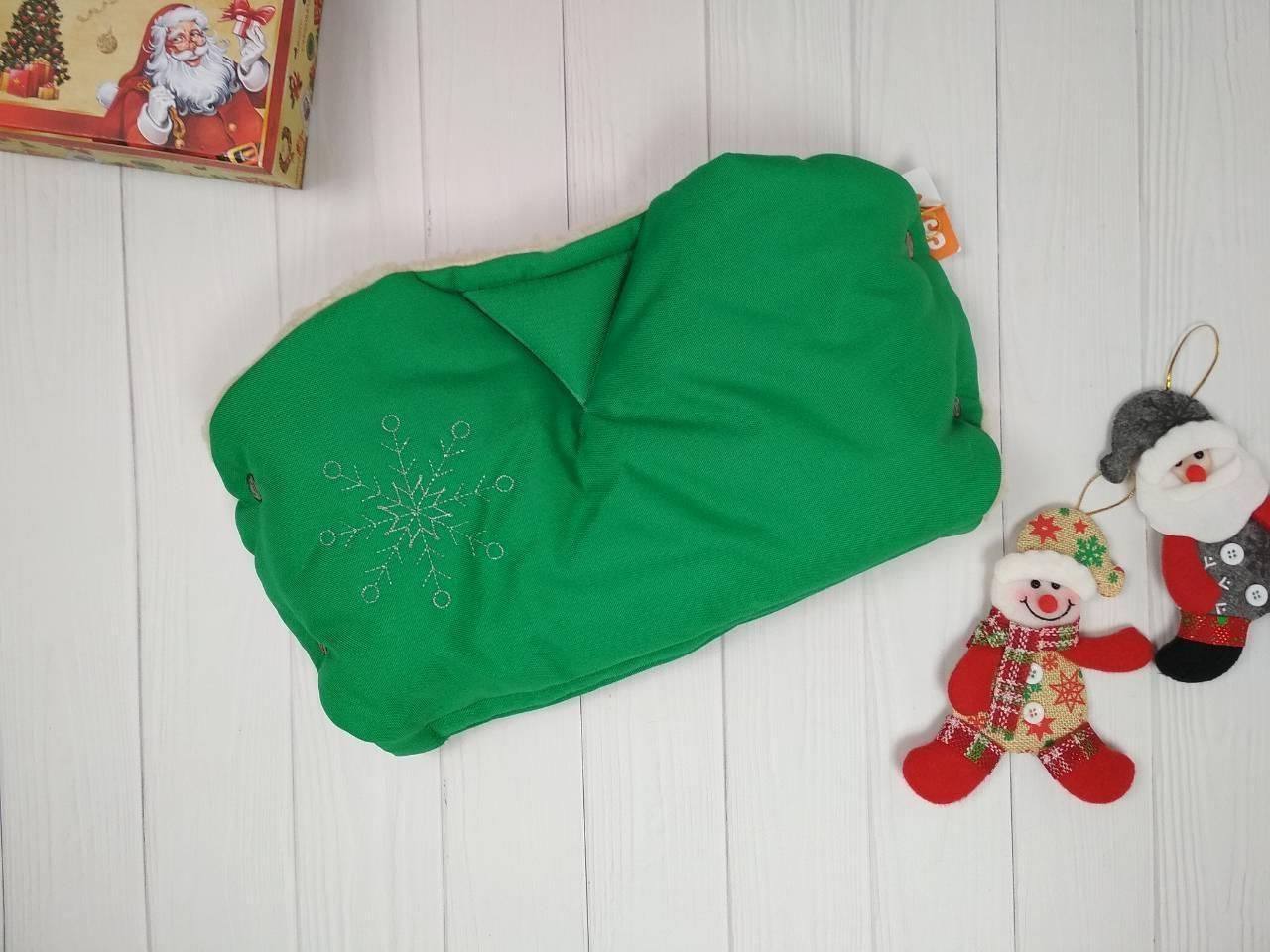 Муфта для рук на набивной овчине от производителя зеленого цвета