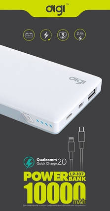 Power bank DIGI LP-107 QC 2.0 - 10000 mAh Li-pol (White), фото 2